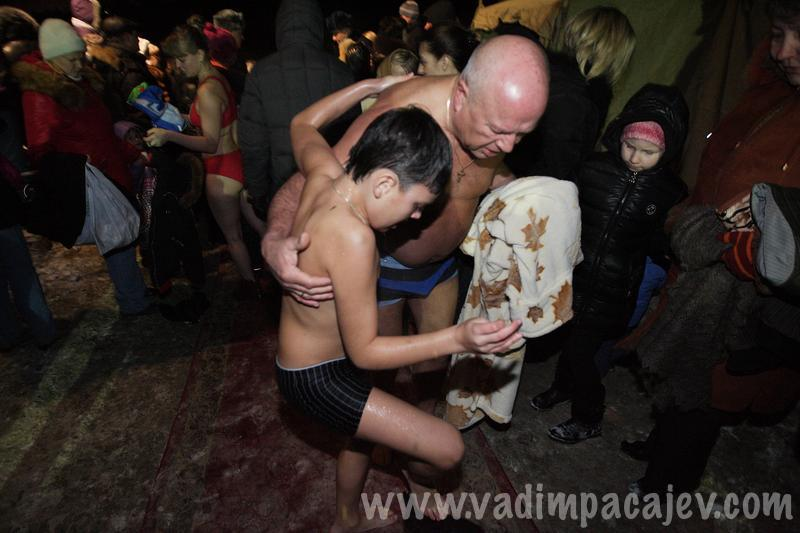 Devotees celebrate the baptism of Jesus Christ in Kaliningrad, Russia