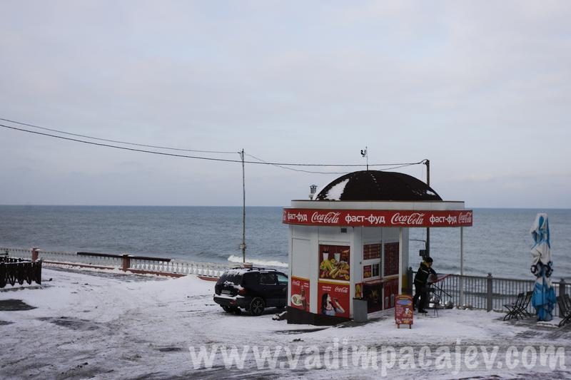 Russian weather: Frozen Baltic Sea coast in Svetlogorsk, Russia