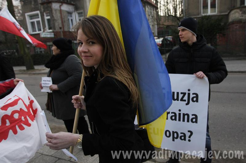 """Putin hands off Ukraine' protest in Gdansk, Poland"