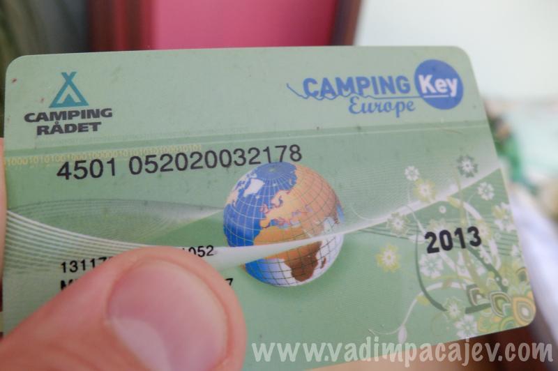 karta wydana przez duńską organizację turystyczną.