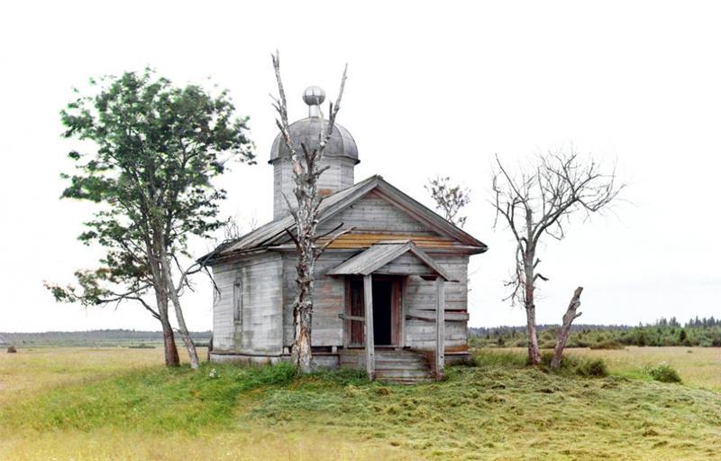 Kaplica na miejscu, gdzie został założony w czasach starożytnych Biełoziersk ,1909 rok