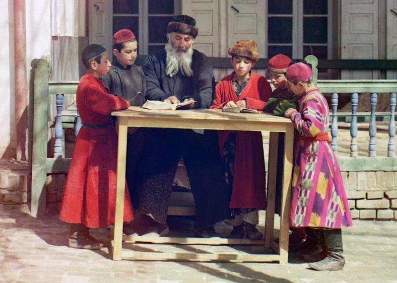 Grupa żydowskich dzieci z nauczycielem w Samarkandzie (obecny Uzbekistan) 1912 rok