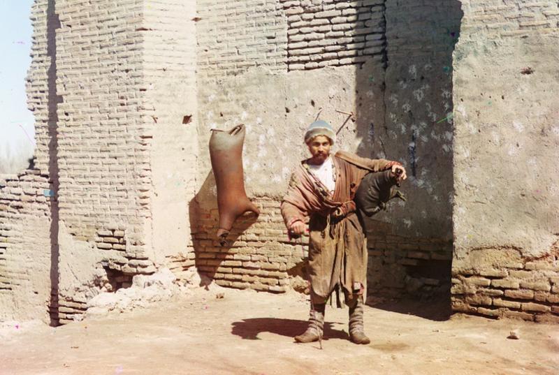 Człowiek zajmujący się dostawą wody, Samarkanda 1910 rok