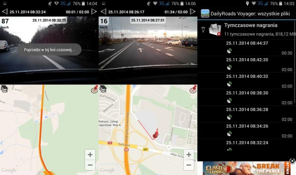 Zarejestrowaną trasę wraz z prędkością i pozycją możemy obejrzeć w dedykowanej przeglądarce